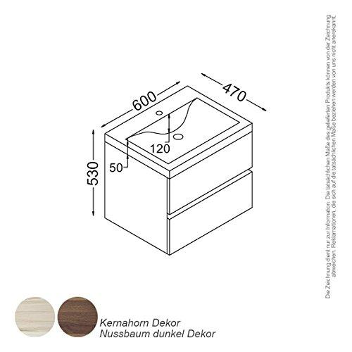 KZOAO Paris wastafelset 60 cm walnoot