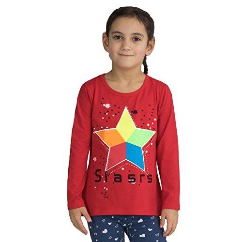 Fashion4Young 3985 kindershirt lange mouwen sterren glittersteentjes lange mouwen voor meisjes
