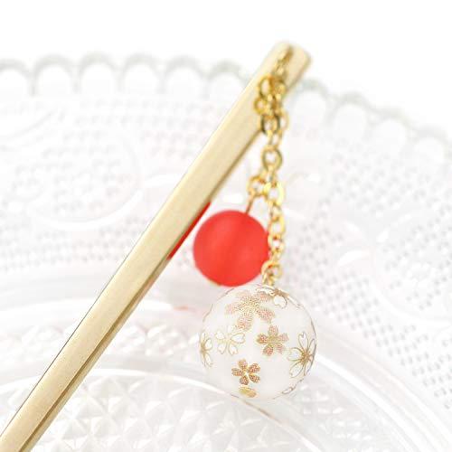 『[Barzaz(バルザス)] かんざし 一本 桜柄 ボール さくら 簪 ゴールド レッド 揺れる ヘアアクセサリー』の3枚目の画像