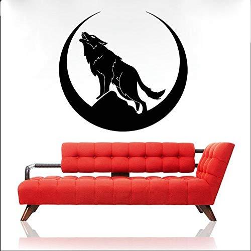 SLQUIET Wolf Tier Wandaufkleber Schlafzimmer Wohnzimmer Dekoration Wandaufkleber Auto Aufkleber Fenster Mond Wandbilder Home Fashion Aufkleber 36 fuchsia 61x57cm