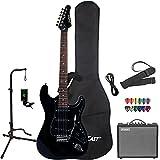 Sawtooth Black Electric Guitar w/Black Pickguard - Includes: Accessories, Amp, Gig Bag & Lesson