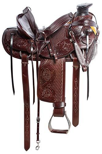 Deen, Enterprises, Wade Tree A Fork - Silla de montar para caballo de trabajo de cuero occidental, tamaño de 14 a 18 pulgadas, asiento disponible (asiento de 15.5 pulgadas) (asiento de 17.5 pulgadas)
