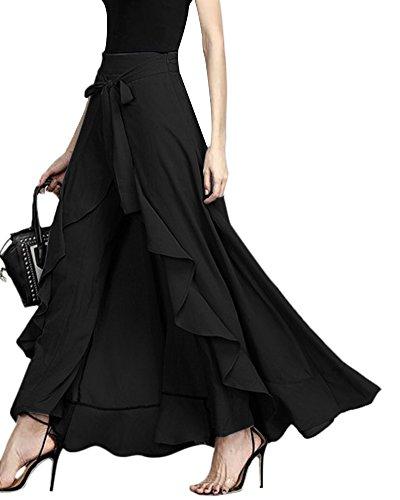 ShallGood Damen Sommer Elegant Hosenrock Mode Hohe Taille Einfarbig Irregular Rüschen Freizeithose Yogahose Partykleid Lang (X-Large, Schwarz)