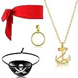 Zomiboo Set di 4 Accessori per Costumi da Pirata Orecchini a Cerchio da Donna Bende per gli Occhi in Feltro Pirata Costume da Pirata con Teschio Sciarpa Rossa da Pirata Collana Pirata Vintage Oro