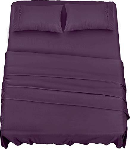 Utopia Bedding Juego Sábanas de Cama - Microfibra Cepillada - Sábanas y Fundas de Almohada (Cama 150, Púrpura)