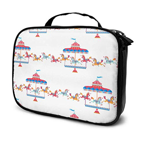 Parc d'attractions Parc d'attractions Merry-go-Round Travel Mens Travel Cosmetic Bag Mens Beauty Bag Beautiful Bags for Girls Multifunction Printed Pouch for Women