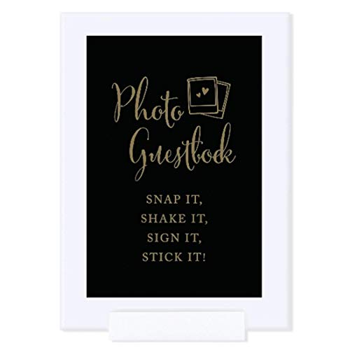 Andaz Press Wedding Framed Party Signs, Black and Metallic Gold Ink, 4x6-inch, Photo Guestbook Snap It, Shake It, Sign It, Stick It, Polaroid Sign Double-Sided, 1-Pack, Includes Frame