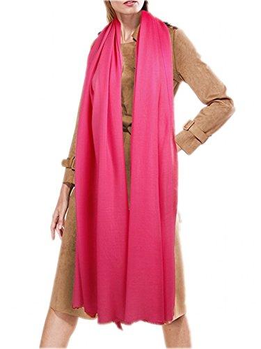prettystern Extra Großer Damen-Schal Pashmina XXL Tuch 100 Garn 100% Wolle Fein Weich - Pink