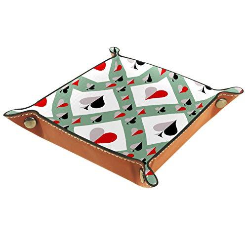 Plateau de rangement pour table de chevet – Boîte de rangement en cuir pour homme et femme – Plateau pour bijoux et accessoires pour table de poker Vert blanc