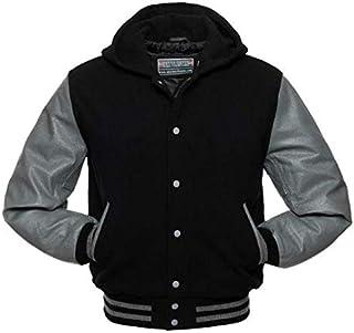 Warrior Gears® Classic Hybrid Varsity Jacket with Hood University Letterman Bomber Jacket- Black Pure Wool Body & Grey Rea...