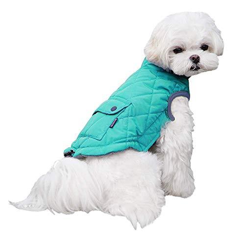 Dociote Abrigo para Perros pequeños, Invierno de Perro Ropa Forro Polar Chaqueta para Perros pequeños Cachorro Mascota Azul XL