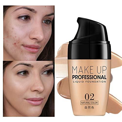 ZUZU Base de Maquillaje Facial Resistente al Agua Corrector de Larga duración Líquido Maquillaje Profesional Cobertura Completa Maquillaje de Base Mate,02