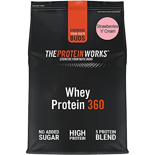 THE PROTEIN WORKS Whey Protein 360 Powder   High Protein Shake   No Added Sugar & Low Fat   Protein Blend   Strawberries 'n' Cream   600 g