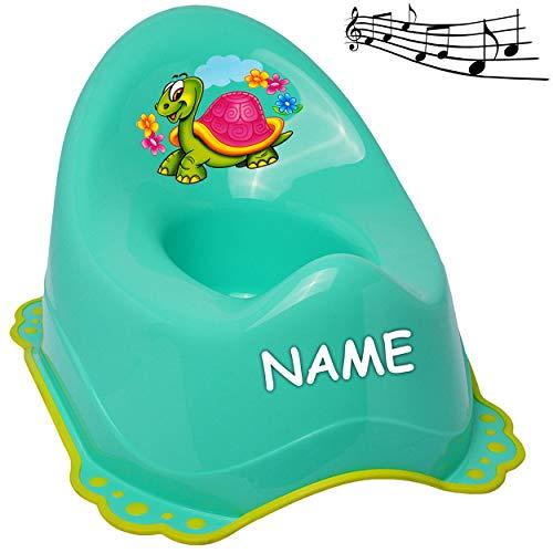 alles-meine.de GmbH Musik & Sound - Anti RUTSCH - Töpfchen / Nachttopf / Babytopf - türkis - blau - Mint _ Tiere - Schildkröte & Blumen _ inkl. Name - Bieco - Melody - mit großer..