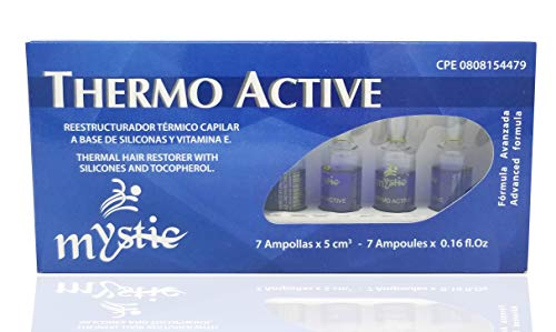 Mystic Thermo Active Hair Ampoule – Thermal Hair Repair Anti-Frizz Treatment – Exceptional Shine And Softness - With Silicones and Vitamin E (Tocopherol) Pack 7 Ampoules( 0.16 Fl. Oz Each Ampoule)