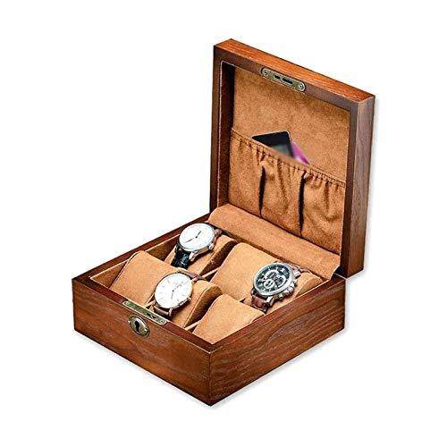 LSLS Caja joyero Relojes de joyería COLECCIÓN Pantalla DE Pantalla Flannel ALIMENTACIÓN JOYERO Caja DE Reloj DE RELOJILLO, 6 Slots Organizador DE Madera DE Almacenamiento Mens Organizador de Joyas
