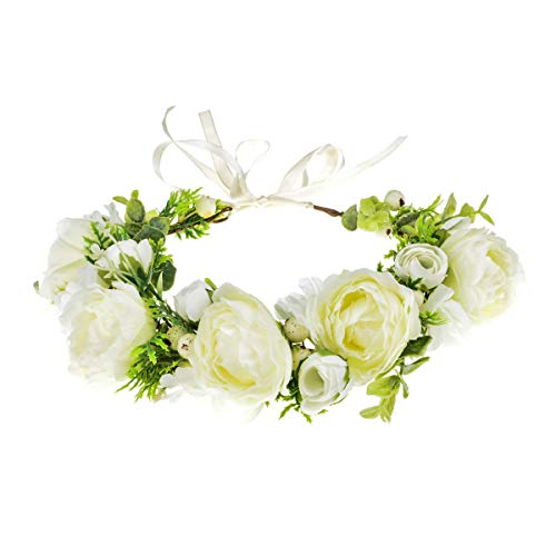 DDazzling Women Flower Headband Wreath Crown Floral Wedding Garland Wedding Festivals Photo Props (White)
