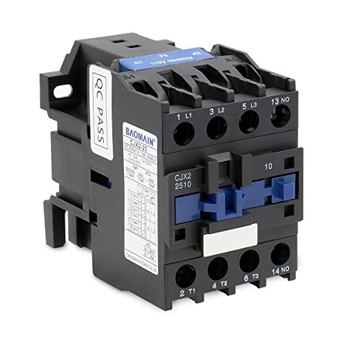 Baomain AC Contactor CJX2-2510 110V Coil 50/60Hz 40A DIN Rail 3P Three Pole Normally Open(NO)