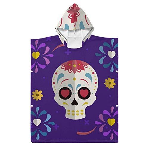 LORONA Kids Teens Mischung aus Polyester und Baumwolle Bunte Dia Muertos mit mexikanischem Schädel in flachem Design Strandtuchumhang Decke Tragbarer Kapuzenpullover mit Kapuze