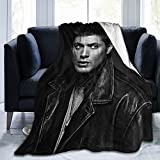Throw Blanket Dean Winchester Soft Fleece Blanket for Bed Sofa Couch Office Travelling Lightweight Soft Flannel Blankets for Home (Black, 50'x40')