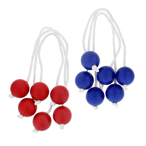 Get Out! Ladder Toss Replacement Bola Strands 6 Pack, 3 Blue 3 Red, Ladder Toss for Backyard Games (Includes 6 Bolas)