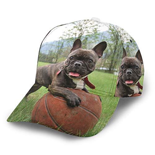 XUJ YOGA Men Women Low Profile Basketball French Bulldog Baseball Cap with Ponytail Hole, Adjustable Trucker Cap Snapback for Unisex Hat