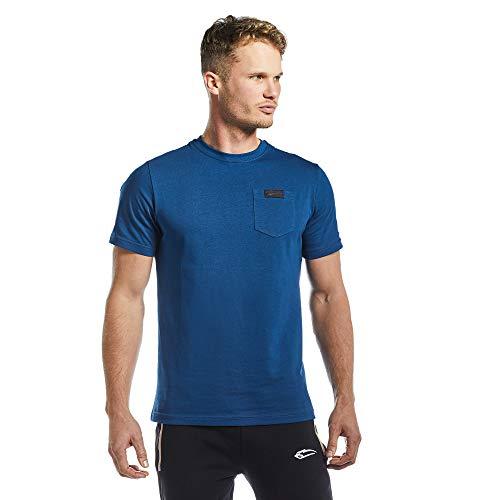 SMILODOX Herren T-Shirt Pocket | Kurzarm Funktionsshirt für Sport Fitness Gym & Training | Trainingsshirt - Laufshirt - Rundhals Sportshirt, Farbe:Blau, Größe:L
