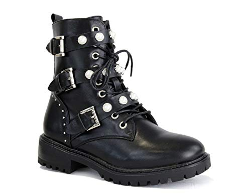 irisaa Damen Stiefeletten Stiefel schwarz mit Strass oder Perlen Schnür Biker Boots, Größe Normal:36, Winterschuhe Farbe 2019:Black Black