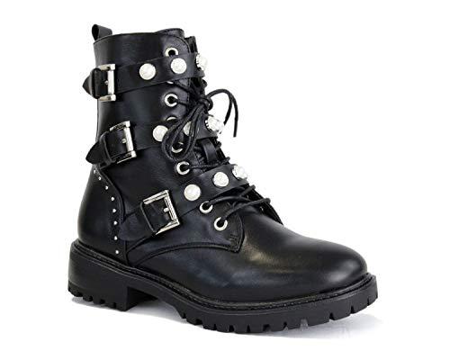 irisaa Damen Stiefeletten Stiefel schwarz mit Strass oder Perlen Schnür Biker Boots, Größe Normal:41, Winterschuhe Farbe 2019:Black Black