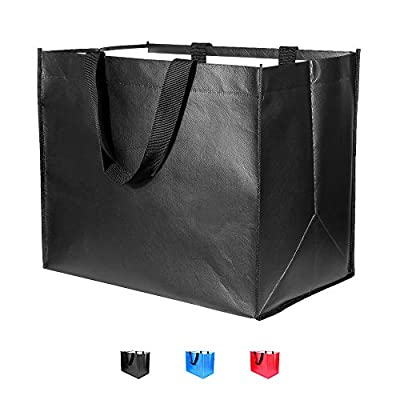 Large Foldable Reusable Grocery Bags 3 Pack Heavy Duty, Hold 50 lbs, Durable Shopping Tote Bags Foldable, Washable&Eco-Friendly, 3 Colors