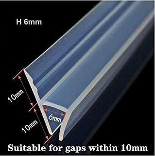 10 Ft (Feet) Glass Shower Door Seal Strip, Frameless Weatherproof Shower Door Seal Strip Silicone rubber Sweep for 1/4 inch Glass, Clear (1/4 inch(6mm), H-Type)