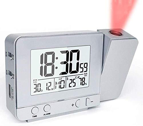 Digitaler Projektionswecker mit Thermometer Hygrometer, Dual Wecker mit Schlummerfunktion, USB Ladegerät, 3 Helligkeiten Große Anzeige Uhr für Schlafzimmer Reise