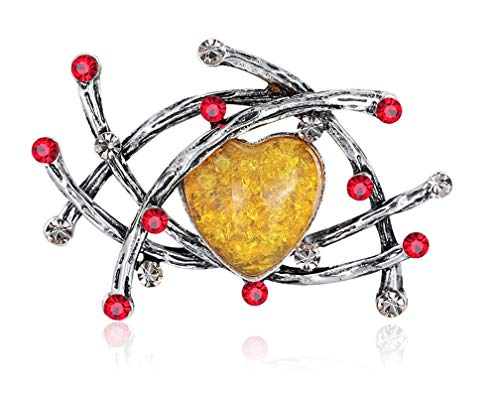 FENGJI Womens Antique Gold Silver Heart Yellow Crystal Rhinestone Hollowing Scarf Pin Retro Brooch Jewellery Gift Antique Silver