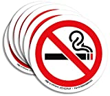No Smoking Sign Sticker for House, Home & Business – 6 Pack 3x3 inch – Premium Self-Adhesive Vinyl, Laminated for Ultimate UV, Weather, Scratch, Water and Fade Resistance, Indoor & Outdoor