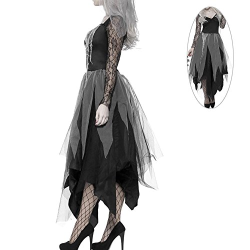 Interlink-UK Halloween kostüm Damen Zombie Braut Leiche Vampir Gruseliger Effekt Kleid (XL)