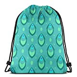 Abstract Peacock Pattern Waterproof Gym Drawstring Bag Sports Backpack Gym Dance Backpack Travel Sackpack