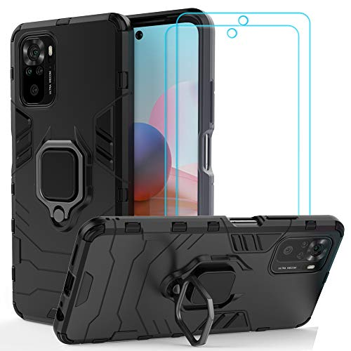 Funda Ytaland para Xiaomi Redmi Note 10 4G (no para 5G), con 2 protectores de pantalla de cristal templado. (3 en 1) a prueba de...