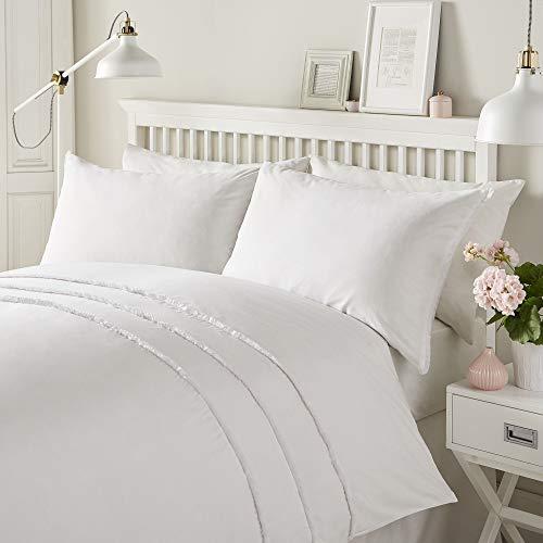 Serene Two, 52% Polyester / 48% Cotton, White, Double, W200cm x L200cm (Duvet Cover), W50cm x L75cm (Pillow Case)