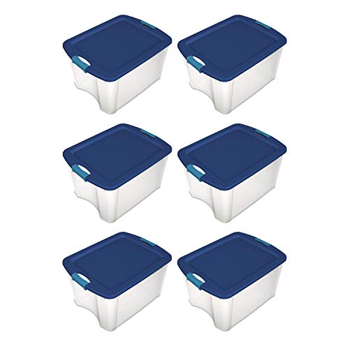 Sterilite 14469606 18 Gallon Latch and Carry Storage Tote Box Container, True Blue Lid and Clear Base with Blue Aquarium Latches (6 Pack)