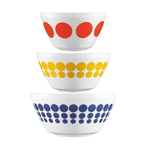 ワールドキッチン( 3個入り)セットレトロホワイトガラスミキシングまたはServing Bowlsポルカドットまたは鳥ヴィンテージPyrexパターン DG-j491BoxPrePackSpotOn