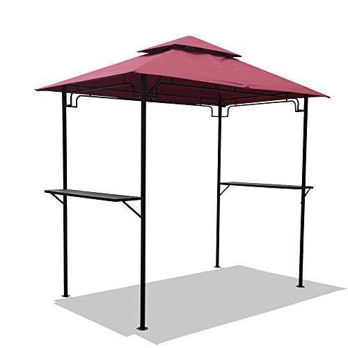 COBANA Grill Gazebo 8'by 5'Outdoor Patio Backyard BBQ Grill Shelter Double Tiered Soft Canopy Top with Steel Frame and Bar Counters, Red