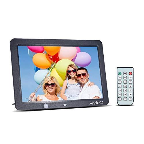 Andoer 12 Zoll LCD-Digital-Foto-Feld 1280x800 menschliche Bewegungs-Induktions-Abfragung mit Fernsteuerungsunterstützungs-MP3 / MP4 / Kalender/Wecker-Funktion