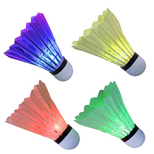 Arespark LED Badminton Shuttlecock, Dark Night Colorful LED Goose Feather Glow Birdies Lighting, Light Up Shuttle-Cocks Badminton Balls for Outdoor & Indoor Sports Activities, Pack of 4/8