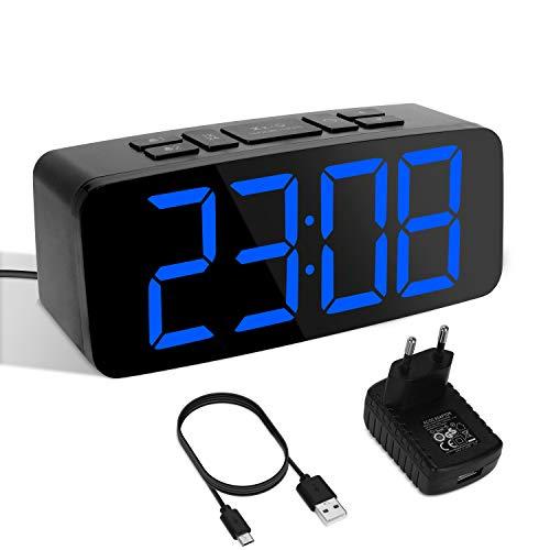 YISSVIC Sveglia Digitale da Comodino LED 6.3 Pollici Schermo 6 Livelli di Luminosità 2 Allarme 2 Livelli di Volume Timer Snooze 12 24 Ore Adattatore