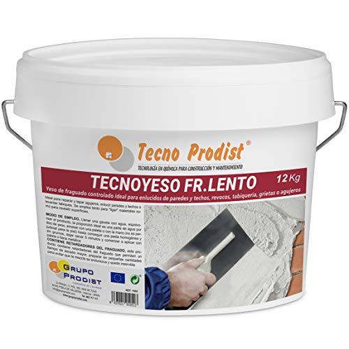 TECNO YESO LENTO de Tecno Prodist, (12 Kg) Yeso de fraguado controlado. Ideal para enlucidos, revocos, tabiquería, grietas o agujeros.