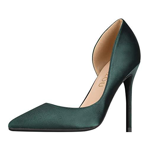 GOXEOU Damen Pumps Spitze Zehen Stiletto Absatz Satin High Heels D'Orsay Kleid Pumps Schuhe Grün Dunkelgrün 10 cm Absatz - Größe: 39 EU