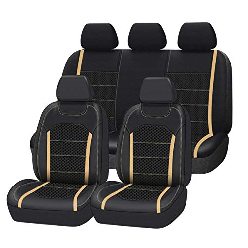 CAR-GRAND Premium Leather with Spacer Mesh Universal Fit Car Seat Covers,Airbag Compatible,Fit for Suvs,Sedans,Vans,Trucks,Cars(Beige)