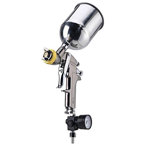 NEIKO 31215A HVLP Gravity Feed Air Spray Paint Gun   1.7 mm Nozzle Size   600 cc   Air Gauge Regulator