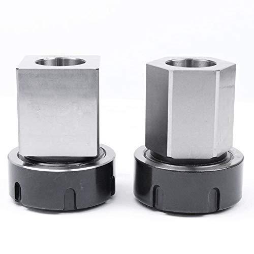 Kuinayouyi ER-40 - Juego de 2 soportes cuadrados y hexagonales para máquina de grabado de torno CNC