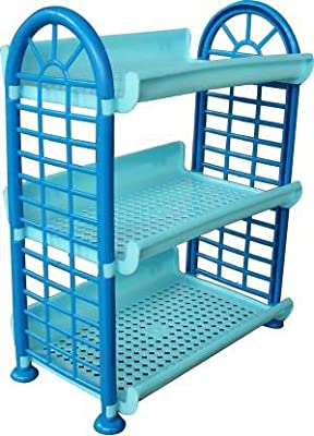 Smile N Style Essentials - 3 Layer Multi-Purpose Kitchen Storage Tray Rack Plastic Kitchen Rack Basket Stand Rack for Fruit and Vegetable (Medium)